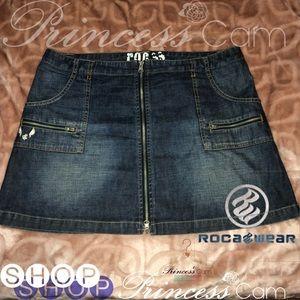 Rocawear Urban Front Zip Short Flirty Denim Skirt